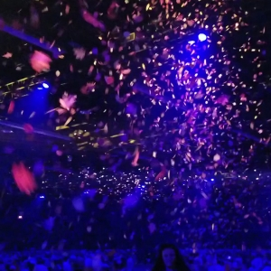 TLC created a sky full of leaves, custom cut confetti