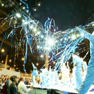 Confetti and streamers energize a trade show presentation