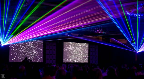 Lasers by TLC with multi-screen video show opener