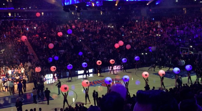 Glowballs light up NY Knicks season opener 2016